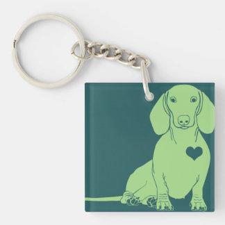 Green Dachshund Silhouette Keychain