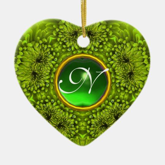 GREEN DAHLIA EMERALD MONOGRAM Heart Ceramic Ornament