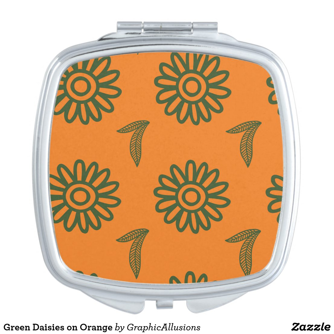 Green Daisies on Orange Vanity Mirror