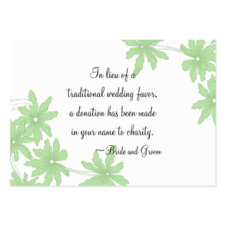 Green Daisies Wedding Charity Favor Card Large Business Cards (Pack Of 100)