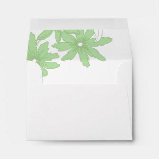 Green Daisies Wedding RSVP Response Card Envelope