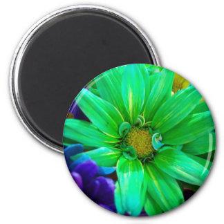 Green Daisy! 2 Inch Round Magnet