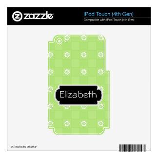 Green Daisy Checkered Pattern Monogram MP3 Skin