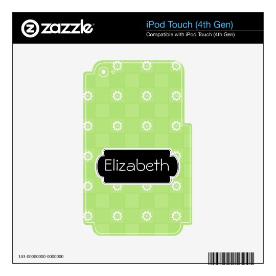 Green Daisy Checkered Pattern Monogram MP3 Skin iPod Touch 4G Decal