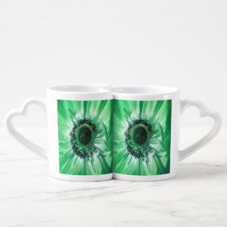 Green Daisy Duo Coffee Mug Set