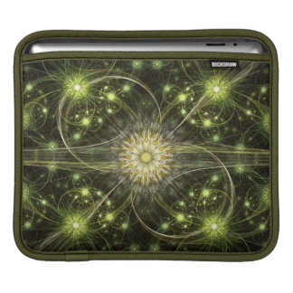 Green Daisy Flame Fractal Sleeve For iPads