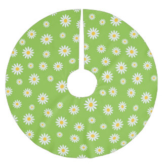Green Daisy Floral Pattern Brushed Polyester Tree Skirt