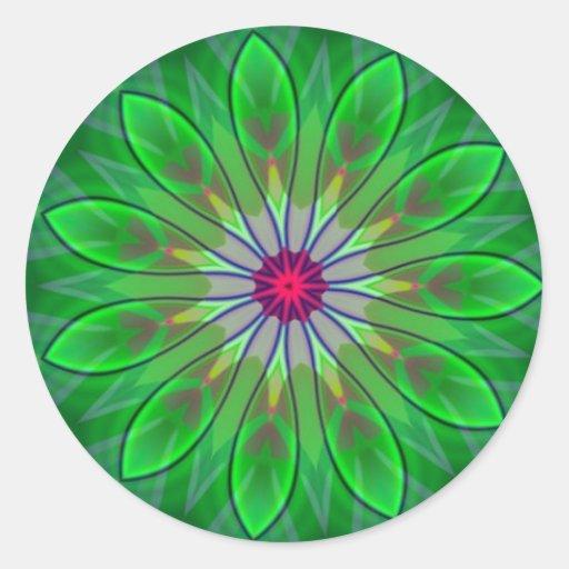 Green Daisy Mandala Flower Decal Fractal Sticker