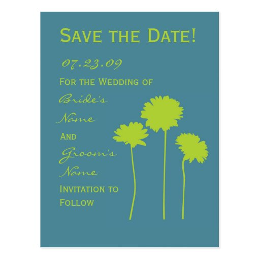 Green Daisy Save the Date Post Card
