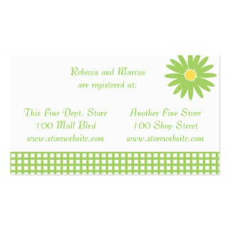 Green Daisy Shower Registry Card Double-Sided Standard Business Cards (Pack Of 100)