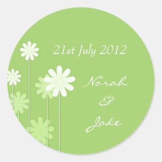 Green Daisy Wedding Envelope Seal Classic Round Sticker