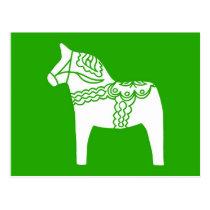 Green Dala Horse Postcard