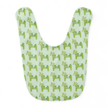 Green Dala Horses Baby Bib