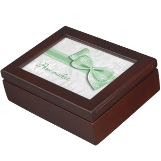 Green Damask and Faux Bow Memory Box