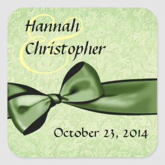 Green Damask and Faux Satin Bow Wedding Square Sticker