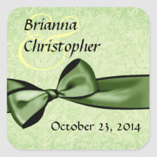 Green Damask and Faux Satin Bow Wedding sticker