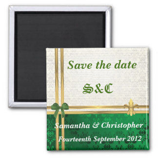 Green damask and gold ribbon save the date magnet