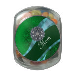 Green damask and mom text jelly belly candy jar