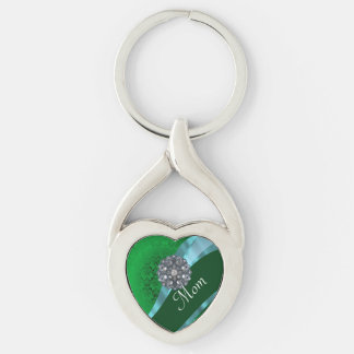 Green damask and mom text keychain