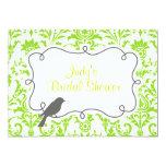 Green Damask & Bird Bridal Shower Invitation Card