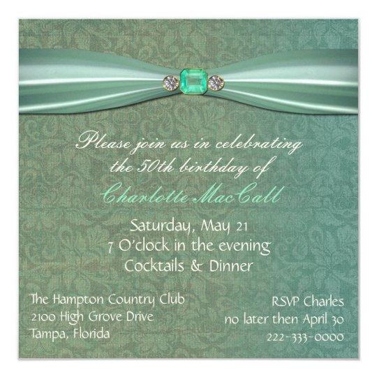 Green Damask Birthday invitation
