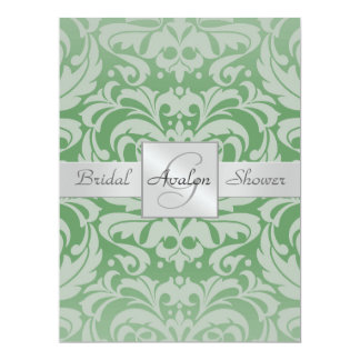 Green Damask Bridal Shower Monogram Invitation