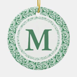 Green Damask Ceramic Ornament