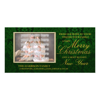Green Damask Christmas Card