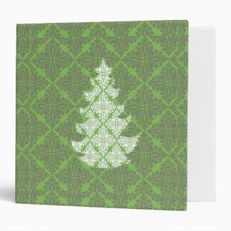 Green Damask Christmas Tree 3 Ring Binder