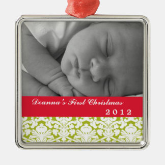 Green damask classic red band baby's first holiday square metal christmas ornament