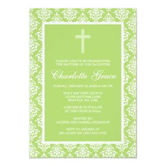 Green Damask Cross Girl Baptism Christening Personalized Invite
