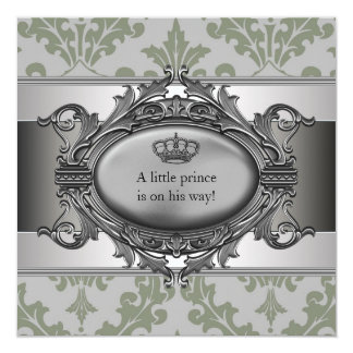 Green Damask Crown Little Prince Boy Baby Shower Card