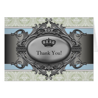 Green Damask Crown Little Prince Thank You Cards