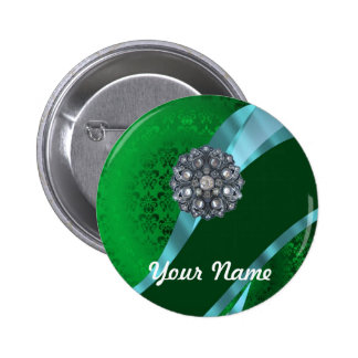 Green damask & crystal button