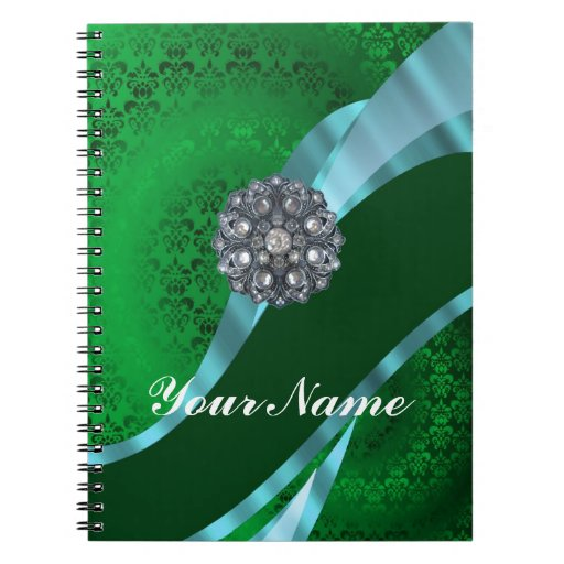 Green damask & crystal notebooks