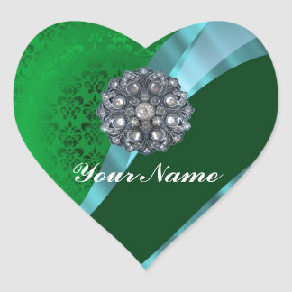 Green damask & crystal heart sticker