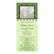 Green Damask Custom Wedding Invitation with Photo