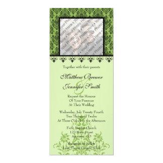 Green Damask Custom Wedding Invitation with Photo