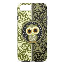 green damask cute owl iPhone 7 case
