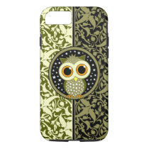green damask cute owl iPhone 8/7 case