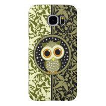 green damask cute owl samsung galaxy s6 case