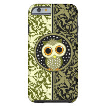 green damask cute owl tough iPhone 6 case
