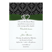 green damask diamante wedding invitation