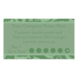 Green Damask Discount Promotional Punch Card