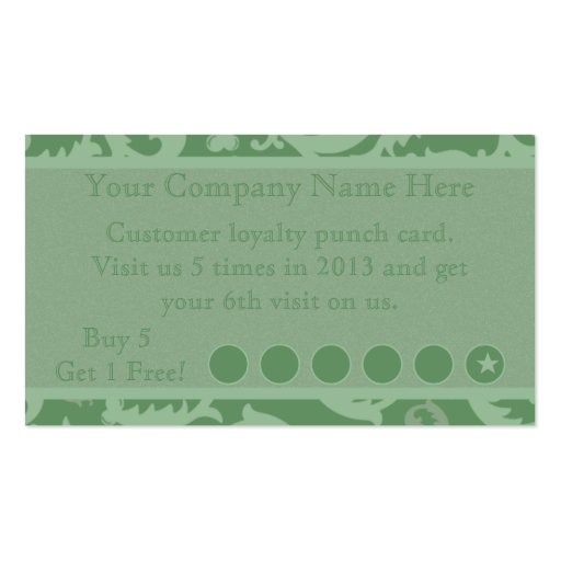 Green Damask Discount Promotional Punch Card Business Card