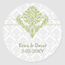 green damask envelope seals