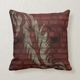 Green Damask Feather Brick Wall Art Square Pillow