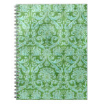 Green Damask floral Wallpaper Pattern Spiral Notebook
