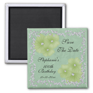 Green Damask & Flowers 100th Birthday Magnet