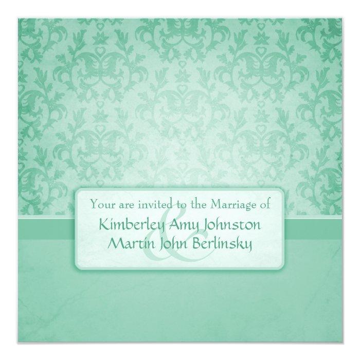 Green damask formal wedding square invitation